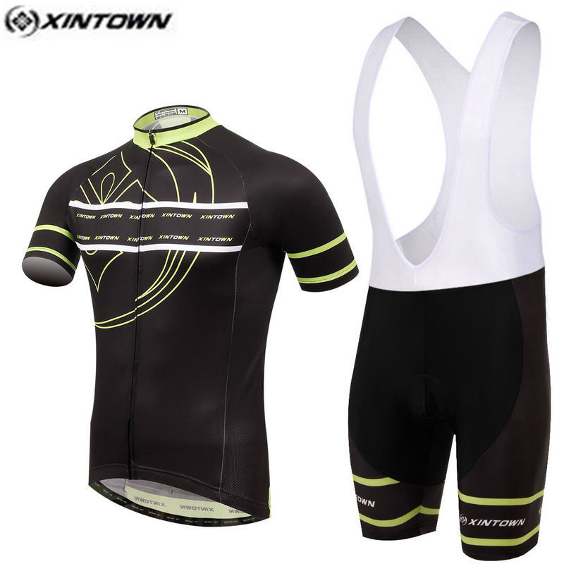 XINTOWN Pro Bike Jersey Bib Shorts Sets Yellow Black Male Ropa Ciclismo Cycling Top Bottom Men Riding mtb Bicycle Clothing Suits cheji purple black cycling jersey set bike clothing ropa ciclismo mtb bicycle jersey padded bib shorts suit riding shirt maillot