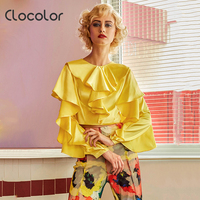 Clocolor Women Top Round Neck Slim Plain Solid Yellow Full Ruffle Sleeve Autumn Fashion Modern Girls