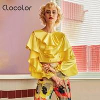 Clocolor Women Top Round Neck Slim Plain Solid Yellow Full Ruffle Sleeve Autumn Fashion Modern Girls