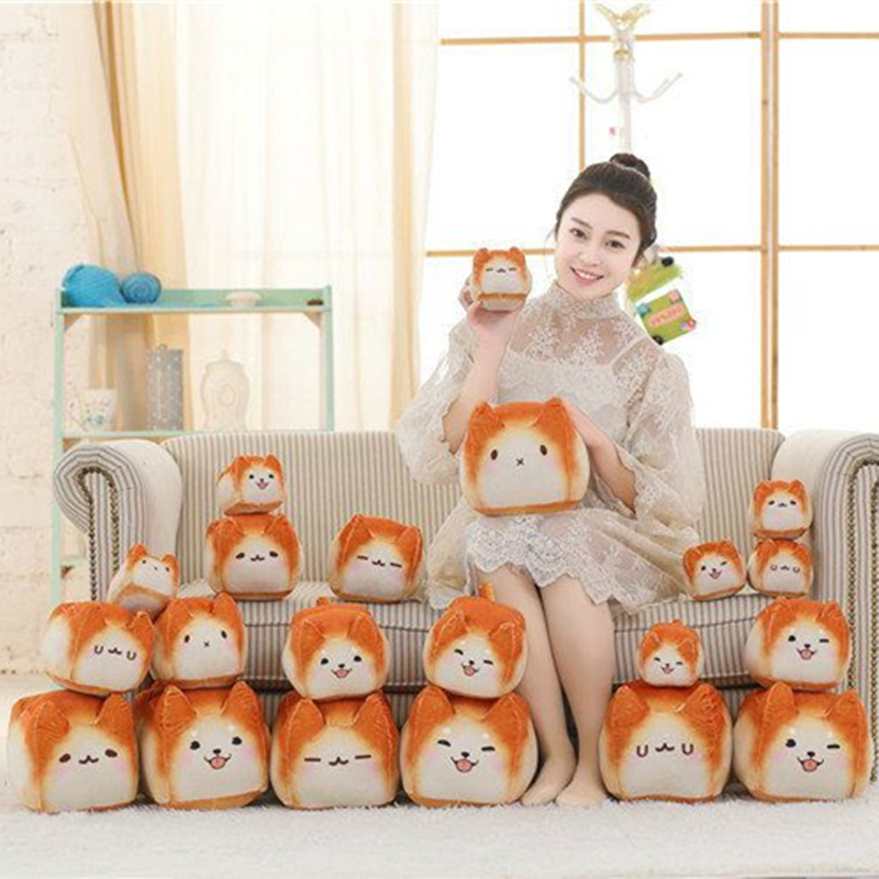 Cute Cat Plush Stuffed Toys Soft Bread Shape Cat Pillow Birthday Gift Cushion Doll Kawaii Plush Toys 16cm купить