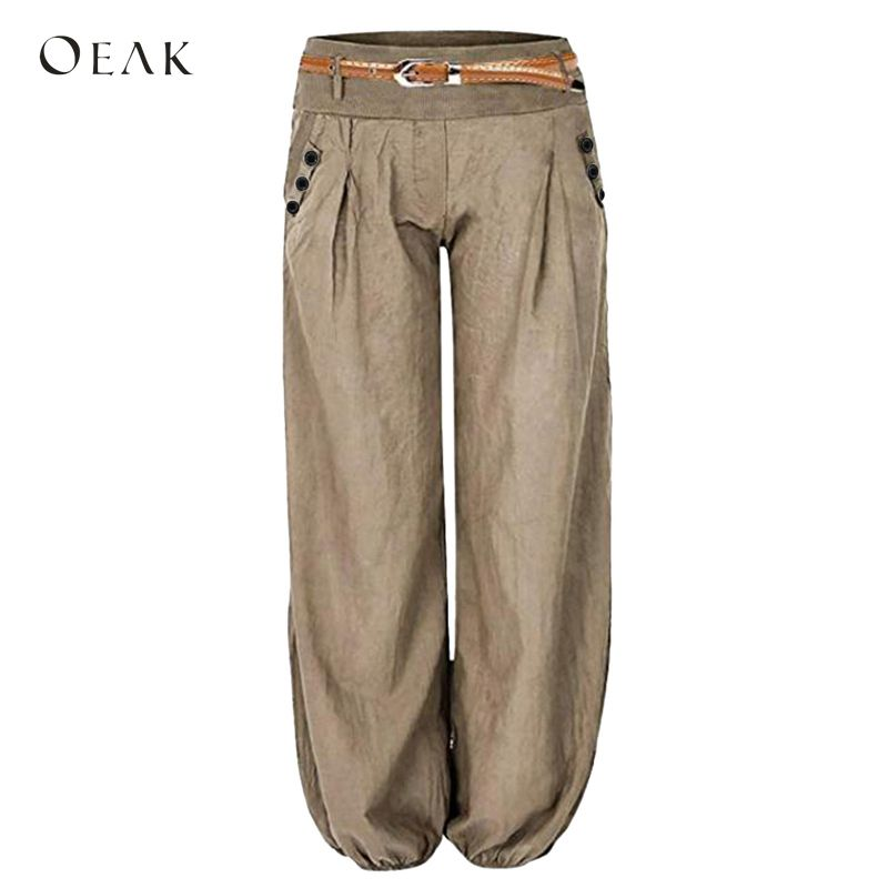 OEAK 2018 Women Loose   Wide     Leg     Pants   Autumn Solid Ankle-Length Elastic Waist   Pants   Female Button Belted Plus Size 2XL Trousers