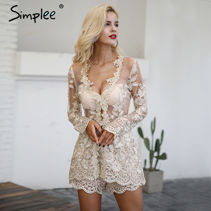 Simplee Sexy sequin lace playsuit women Elegant long sleeve two-piece suit   jumpsuit   romper Mesh embroidery backless overalls