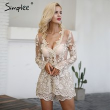 b04a4db7ebe2 Simplee Sexy sequin lace playsuit women Elegant long sleeve two-piece suit jumpsuit  romper Mesh embroidery backless overalls