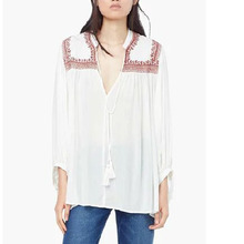 Nice Fashion Women Blouses Bohemian Retro Embroidery Belted Puff Sleeve Shirts Female Casual Tops Ladies Black Tops plusADGL242