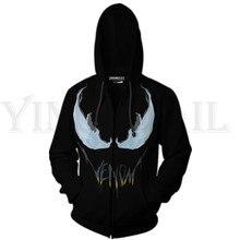 Men and Women Zip Up Hoodies Venom Spiderman 3d Print Hooded Jacket Mravel 4 Movie Anti-hero Sweatshirt  Streetwear Costume