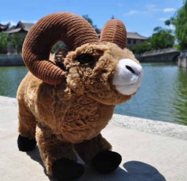Stuffed Toys Children Rocky Mountain Horn Sleep Doll Simulation  Animals Goat Plush Toy Gift Store