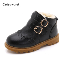 Children boots PU leather waterproof martin boots winter kids snow boots brand girls boys shoes thick plus velvet warm boots недорого