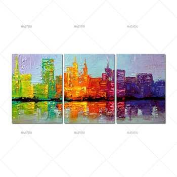 abstract flower home decoration oil paintings 3 piece wall painting Hand painted on canvas art modern picture pictures