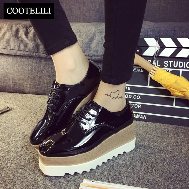 COOTELILI 35-39 Spring Casual Solid Flat Women Shoes Patent Leather Lace-Up Loafers Flat Platforms British Style Ladies Oxfords