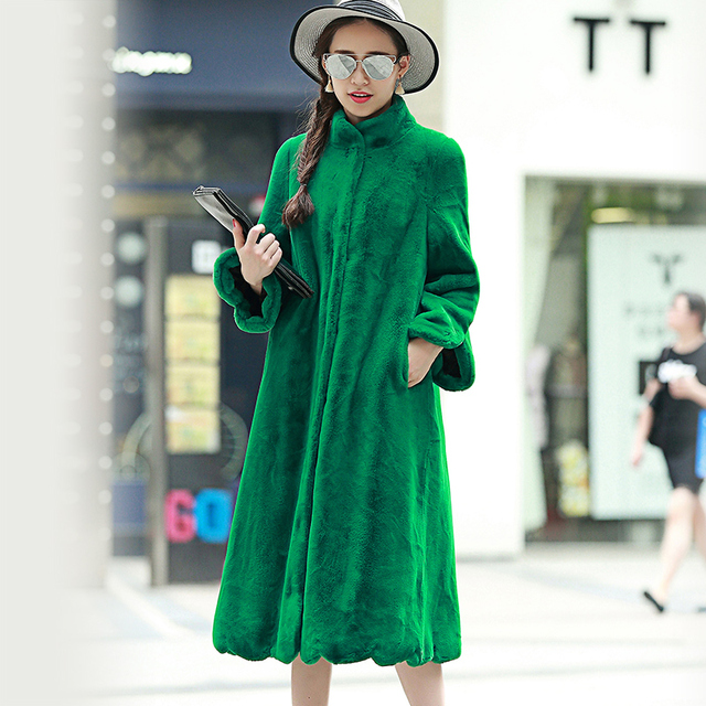 Long Red Faux Fur Coat Winter Solid Color Full Sleeve Stand Collar Loose Fit Women Outerwear Coats Plus Size 6XL
