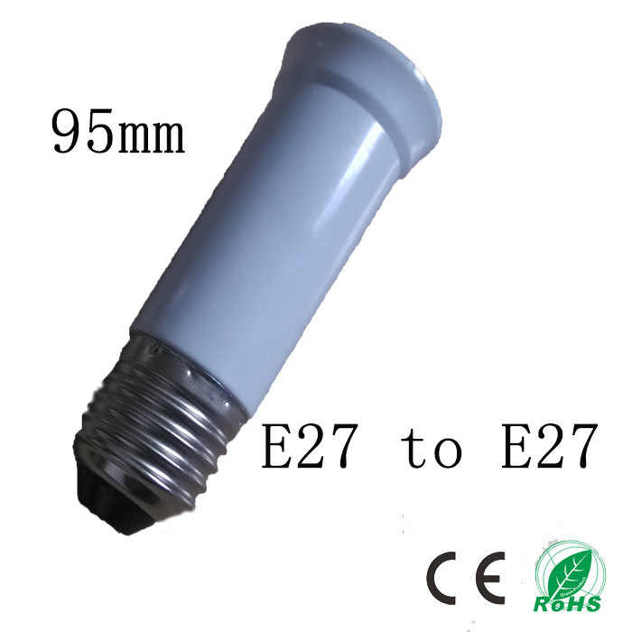 5pcs/lot 95mm E27 to E27 socket,Elongation type lamp holder,Colour and lustre is white