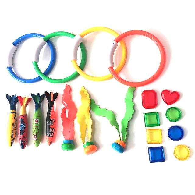 19 unids/set juegos coloridos anillos de buceo pelotas palos playa niños impermeables divertida piscina torpedera regalos juguetes bajo el agua