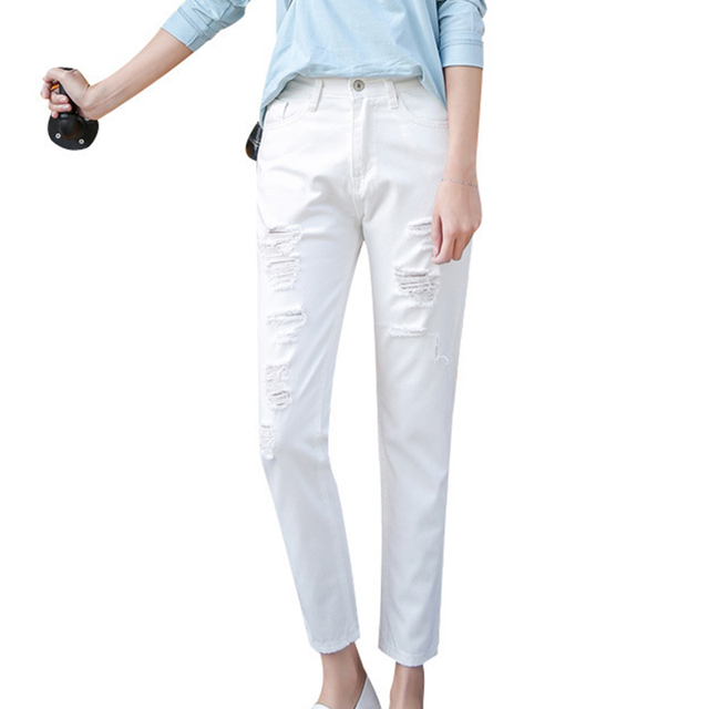 Estate Donna Jeans Pantaloni Bianchi Jeans Strappati Per Le Donne
