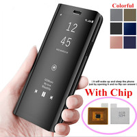 Touch Flip Stand Case For Samsung S8 S9 Plus S6 S7 Edge Note8 Smart Chip Clear