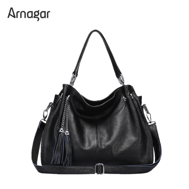 Arnagar luxury genuine leather tassel bags handbags women famous brands fashion shoulder bag women messenger bags 2016 new bolsa new genuine leather bags for women famous brand boston messenger bags handbags tassel tote hand bag woman shoulder big bag bolso