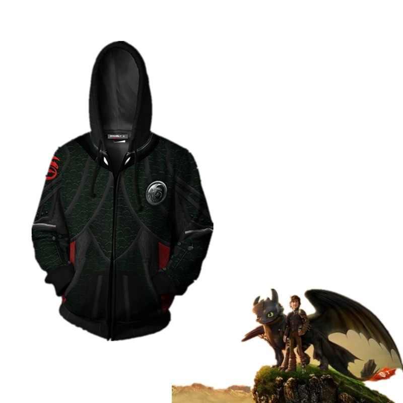 2019 How To Train Your Dragon hoodies  Costumes Sweatshirts Cosplay 3D Printed fashion Cartoon Men's hooded zip Jackets