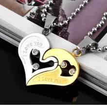 9f0e91c2c7c4 Collar con colgantes de cristal de acero inoxidable 316L grabado te amo  medio corazón en forma de pareja Collar para parejas ama.