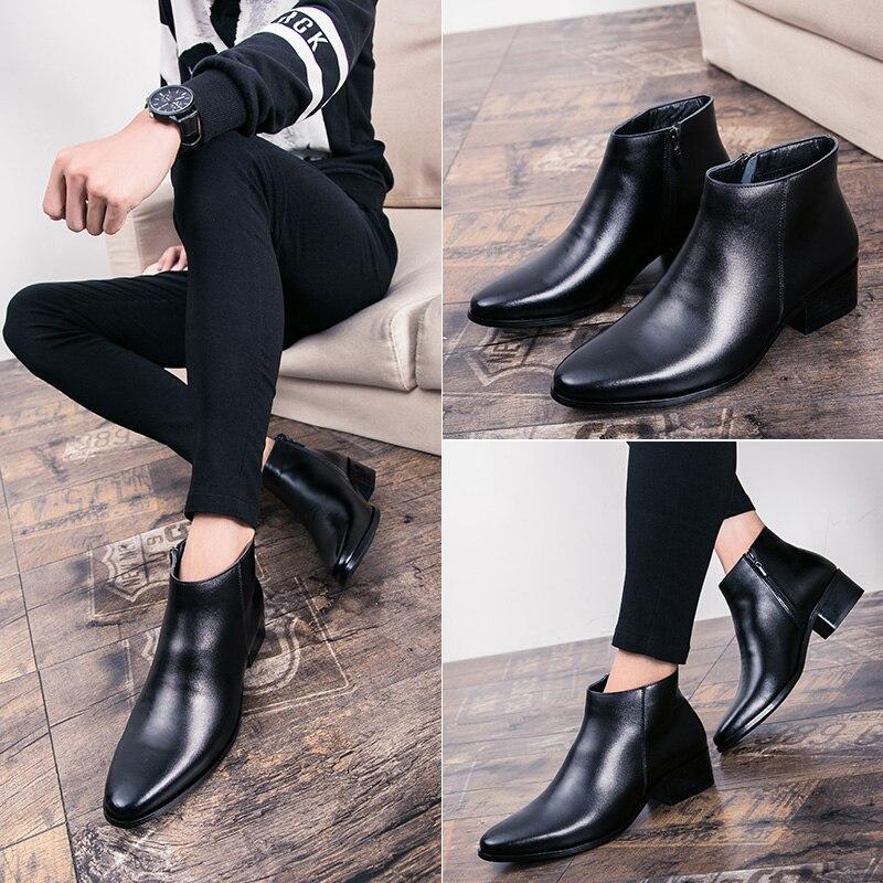 Hommes bottines de haute qualité confortable noir mariage robe formelle chaussures hommes d'affaires - 6