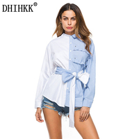 DHIHKK Blouse 2018 Spring Women Splicing Color Asymmetrical Bow Tie Striped Front Short Back Long Shirt
