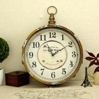 Iron circle wall clock vintage retro finishing clocks fashion decoration