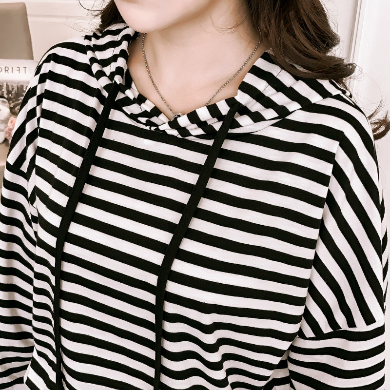 Autumn Korean stripe Woman's sets plus size hoodies sweatshirt+casual pencil pants feet student 2 two-piece set tracksuit women 4