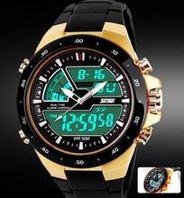 Skmei Hombres Deportes Relojes del Relogio masculino Moda Casual Impermeable Reloj de Cuarzo Analógico y Digital Militar hombres Relojes Deportivos
