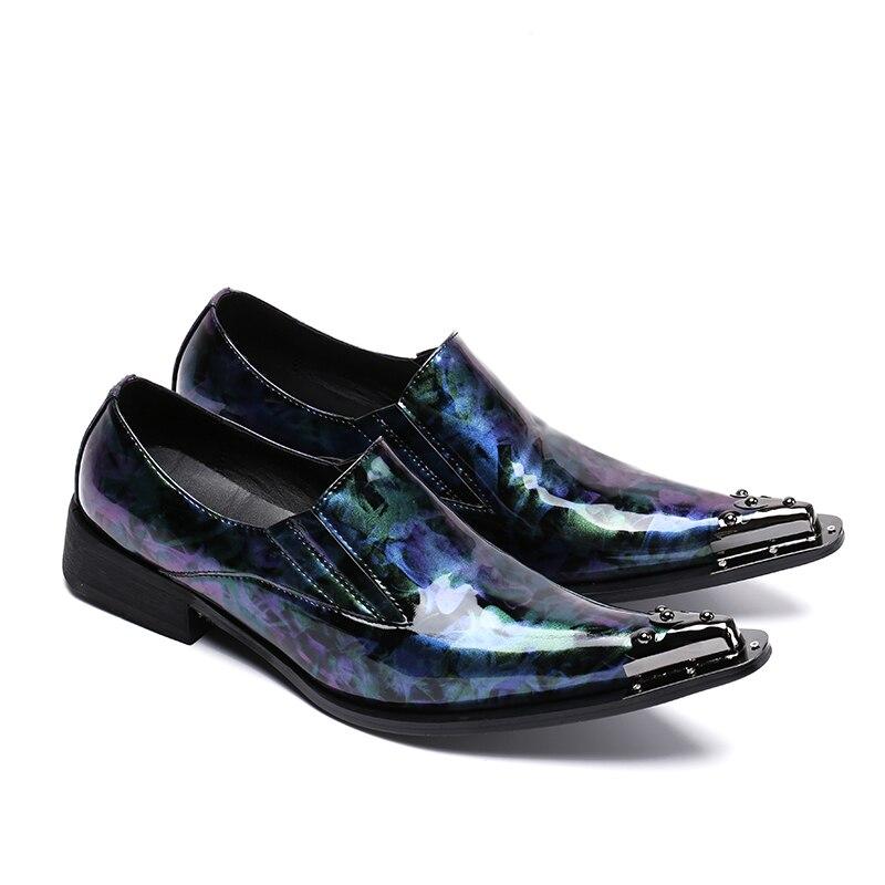 En Casual De Impression Hommes Sur Métal Cuir Verni Chaussures Carrière Luxe Mode Nouvelle Barres As Bout Picture Mocassins Wrok Conception Pointu Glissement gw6vqq