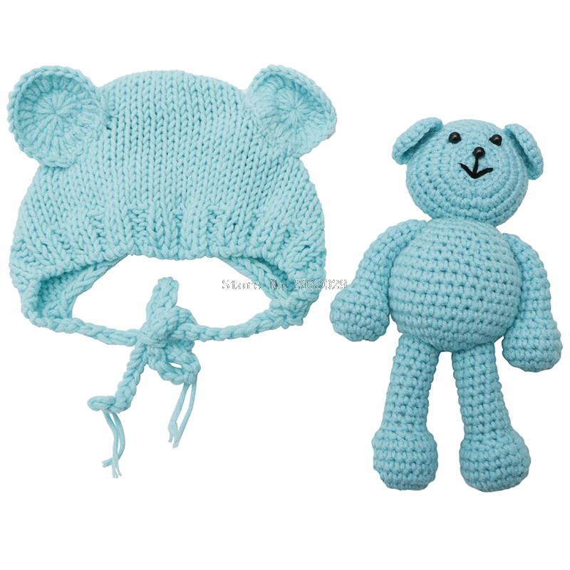 Newborn Baby Bear Hat Photography Props Crochet Beanie Photography Accessories -B116 meetcute newborn baby photography props floral crochet blankets cute bear hat knitted bear sets baby fotografia photo kits