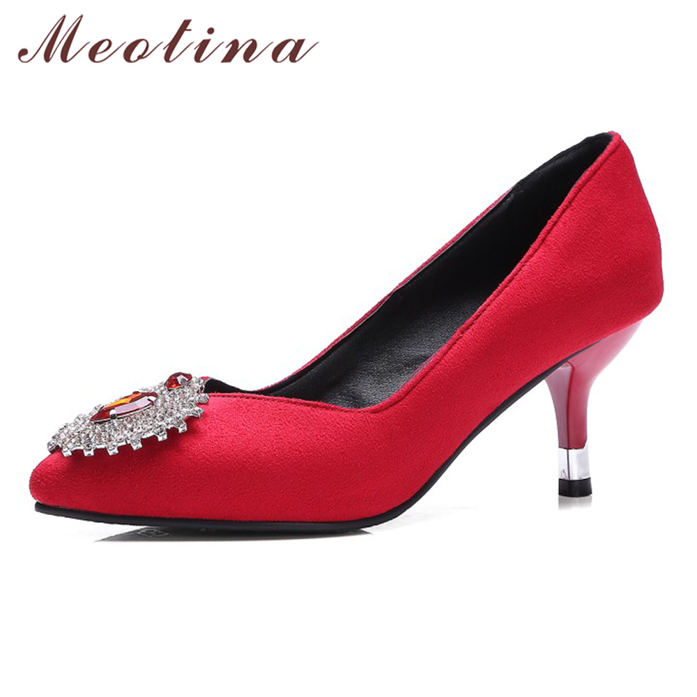 цена на Meotina High Heels Shoes Women Pumps Crystal Wedding Red High Heels Ladies Party Shoes Pointed Toe Pumps Black Green Size 34-43