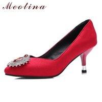 Meotina Tacones Altos Bombas de Las Mujeres Zapatos Cristalinos de La Boda Rojo de Alta talones de Las Señoras Zapatos de Fiesta de Bombas de Punta estrecha Negro Verde Tamaño 34-43