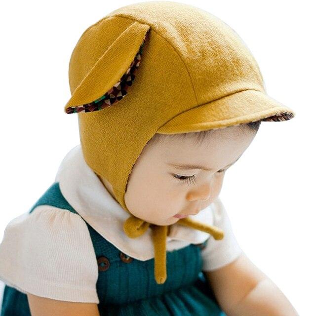 6d6956aa6ff5a Hilenhug Bébé Fille Cap Enfants Bonnet Enfants Oreille Manchette Chapeau  pour 3 à 24 Mois Infant