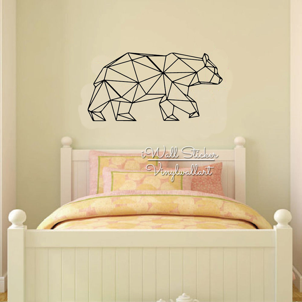 Geometric Bear Wall Sticker Modern Geometric Bear Wall Decals DIY ...