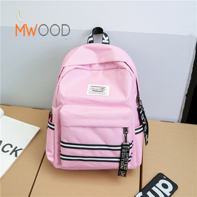 c821989a7b Moon Wood New Style Youth Simple Stripe Backpacks For Girls Student Travel  College Schoolbag Canvas Korean Fashion Large Bag