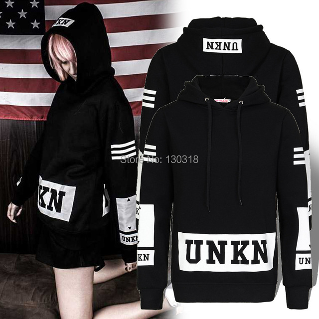 5d8447408039 2014 New Western Swag Street Style Fashion UNKNOWN UNKN Letter Printed Women  Men Black Sweatshirt Hoodies Pullover TOP