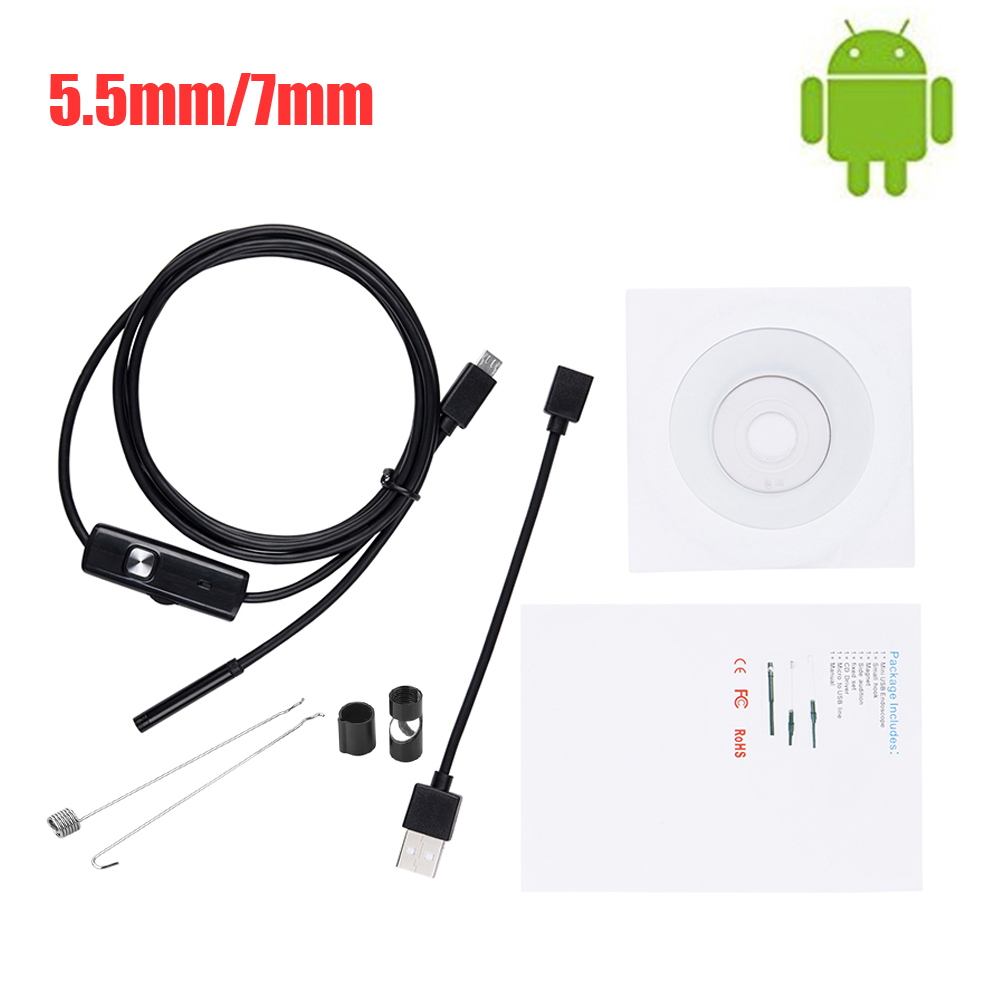 5.5mm 7mm HD Endoscope Camera  USB Endoscope With 6 LED 1/1.5/2M Soft Cable Waterproof Inspection Borescope For Android PC