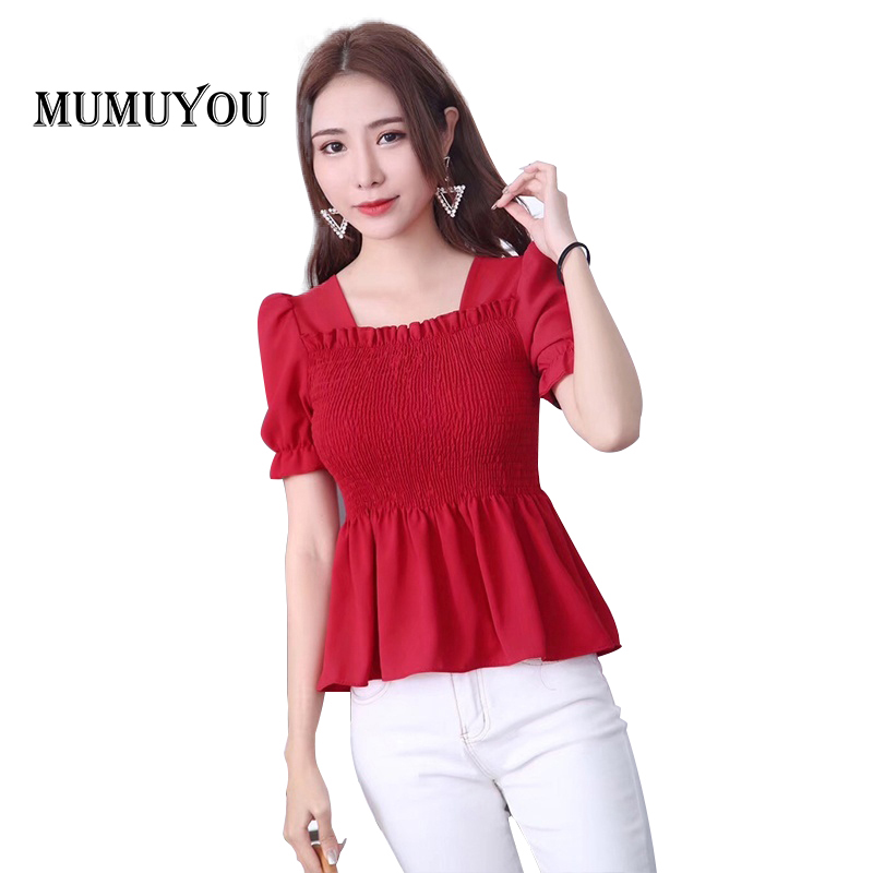 Women Pleated Ruffles Shirt Vintage Chiffon Tops Short Sleeve Blouse Retro Sweet Solid Lantern Sleeve Square Collar 914-A109