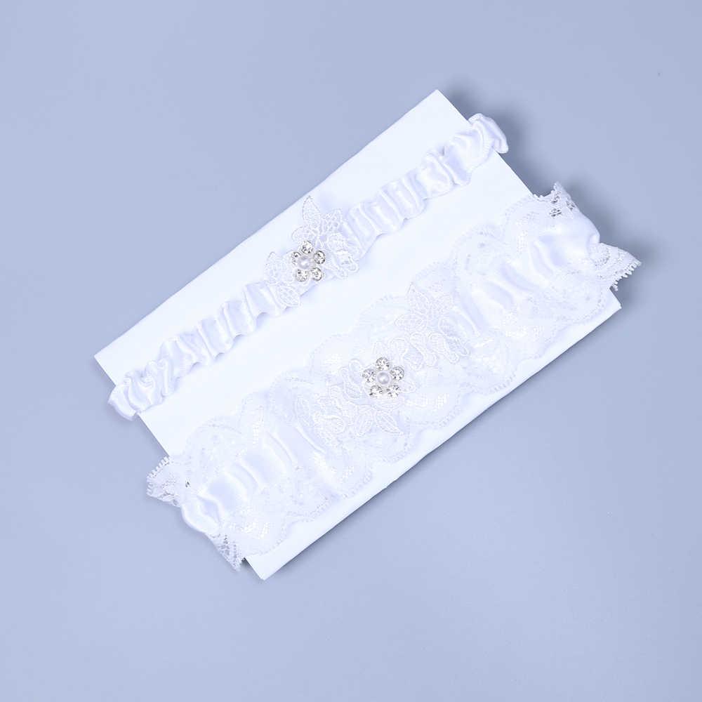 2019 Wedding Garter Set Bridal Garter set Lace Flower pearl Garter set Crystal Rhinestone Pearl Bridal Garter