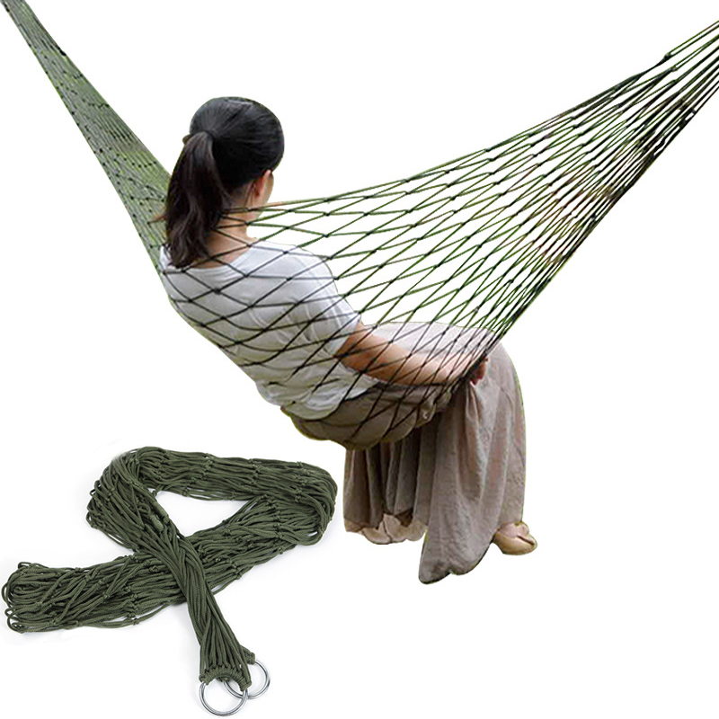 Single-Person Mesh Nylon Hammock Portable outdoor Leisure hanging bed Swing for Adult Outdoor Furniture for Camping