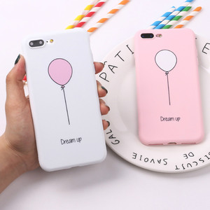 Cute balloon pink phone Case for iPhone6 7 8TPU silicone matte Protective Case for iPhoneX XS XSMAX anti-fall dream phone Case