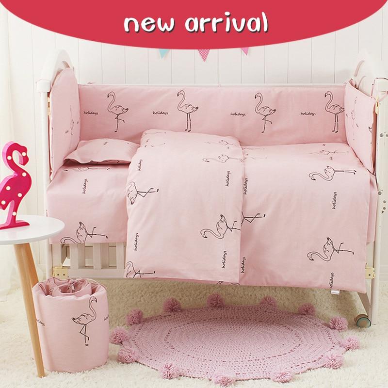 3/4/7pcs pink Flamingos pattern baby bedding set crib bumper sheet pillowcase crib around protection breathable cotton for baby стоимость