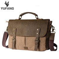 YUFANG Vintage Durable Canvas Men Messenger Bags High Grade Crazy Horse Leather Men S Travel Bags