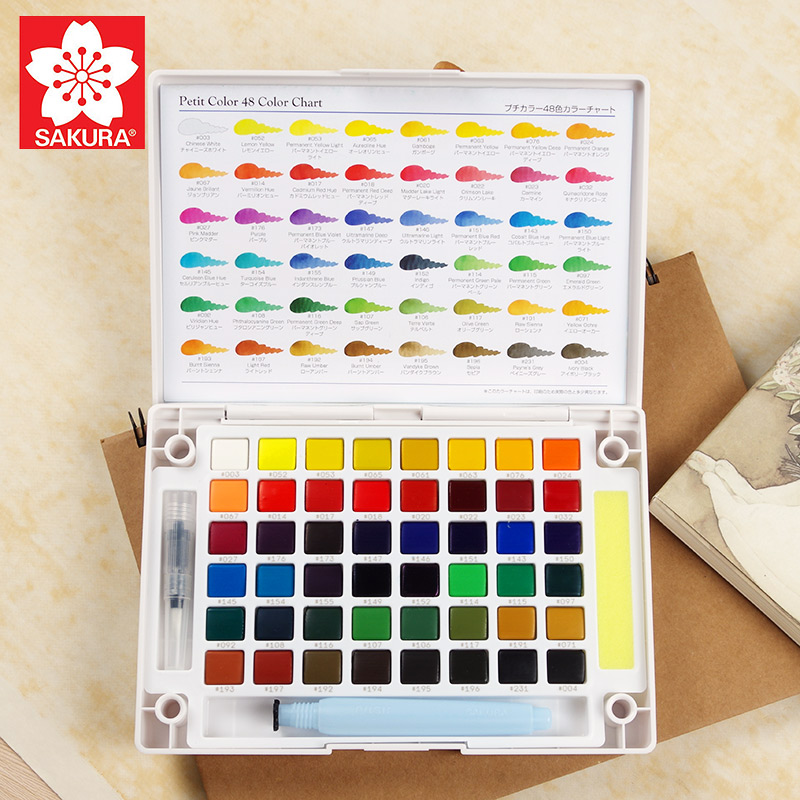 SAKURA Solid Water Color Paint Set 18/24/30 Colors Solid Water Color Pigment+Sakura Needle Pen+Water Brush+Watercolor Paper japan sakura sakura 50 36 25 color oil pastels crayon student sakura sakura 36 colors oil pastels watercolor can be washed