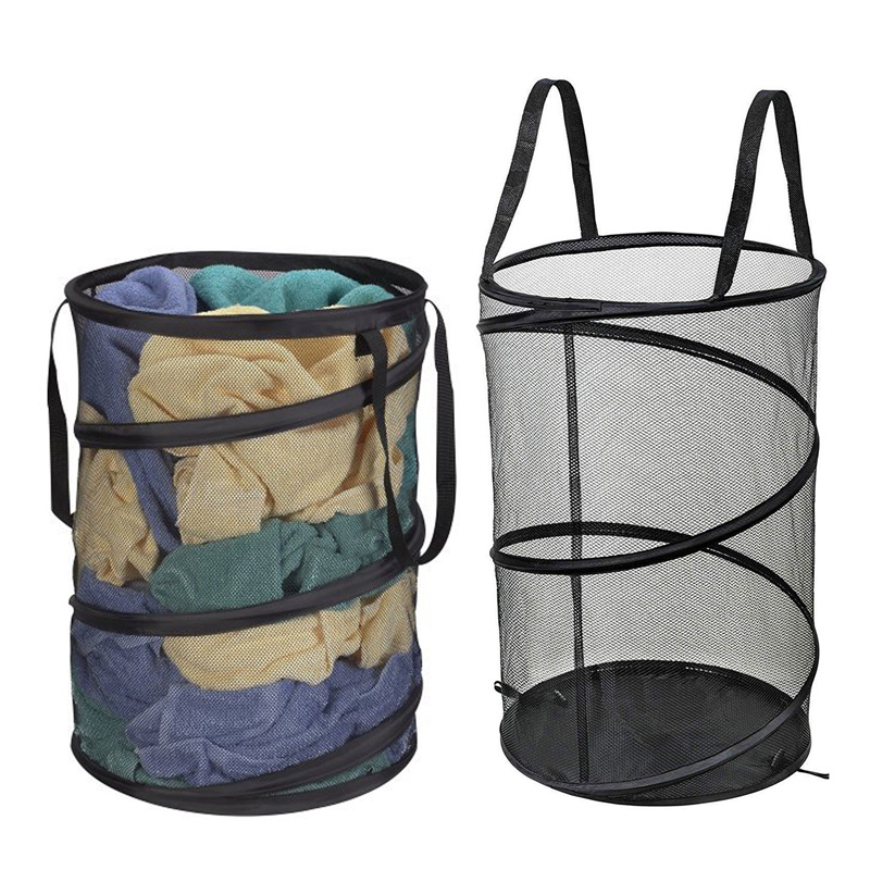 Mesh Folding Laundry Basket Dirty Clothes Storage Basket Large Capacity Round Laundry Bag For Bra Socks Underwear Hamper Barrel(China)