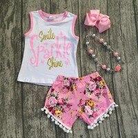 طفل الفتيات الملابس الصيفية الأطفال ابتسامة البريق يلمع وتتسابق الفتيات الأعلى مع الزهور السراويل الملابس مجموعات مع الملحقات