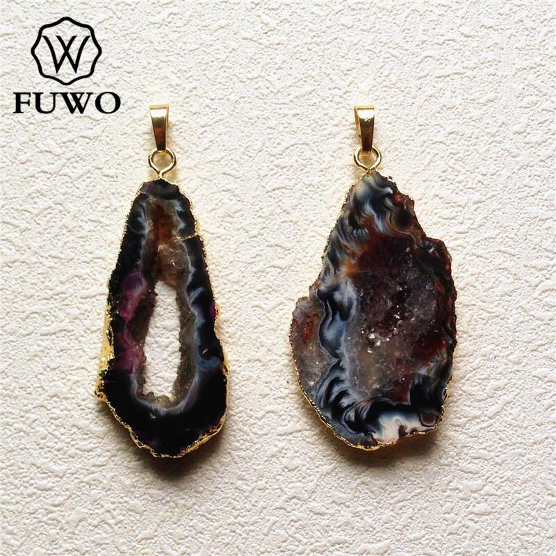 FUWO Druzy Geode Slice Pendant 24k Gold Electroplate Edge Polished Black Gray Drusy Crystal Gem Stone Charm Jewelry PD129