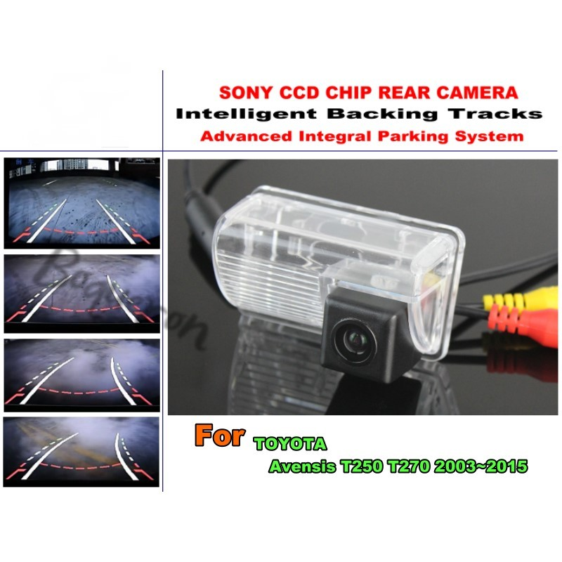 For TOYOTA Avensis T250 T270 2003~2015 Intelligentized Reversing Camera Rear View Back Up / 580 TV Lines Dynamic Guidance Tracks 860 576 pixels back up camera for renault megane 3 iii 2008 2016 rearview parking 580 tv lines dynamic guidance tragectory
