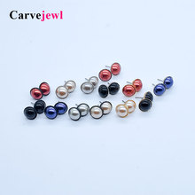 Carvejewl stud earrings color rich pearl round for women jewelry girl gift cute new fashion korean earring