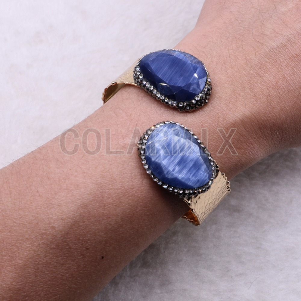 High quality Faceted Cat eye stone bangle Double stone jewelry metal bracelet bangle jewelry wholesale 3