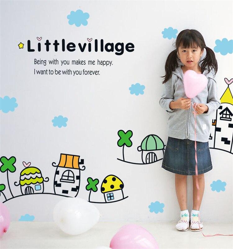 Дети стены дома наклейки Семья гостиная питомник класс украшения Деревня Стиль наклейки мультфильм зданий обои