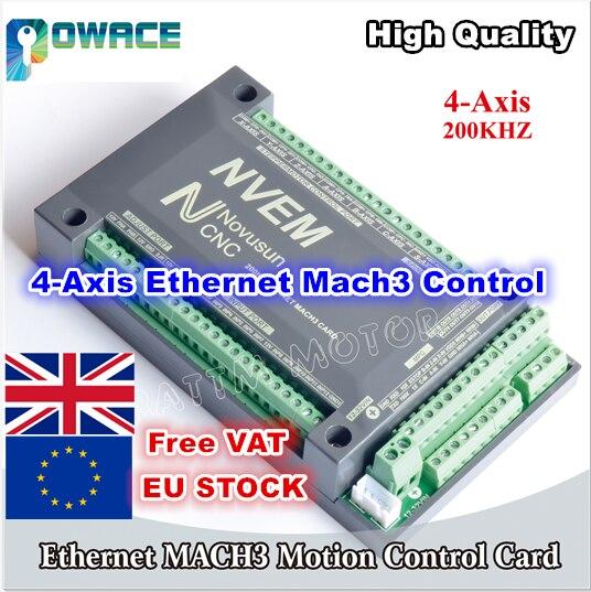 [Доставка ЕС] 4 осевая плата управления ЧПУ NVEM 200 кГц, Ethernet Mach3, карта управления движением для шагового двигателя, серводвигателя